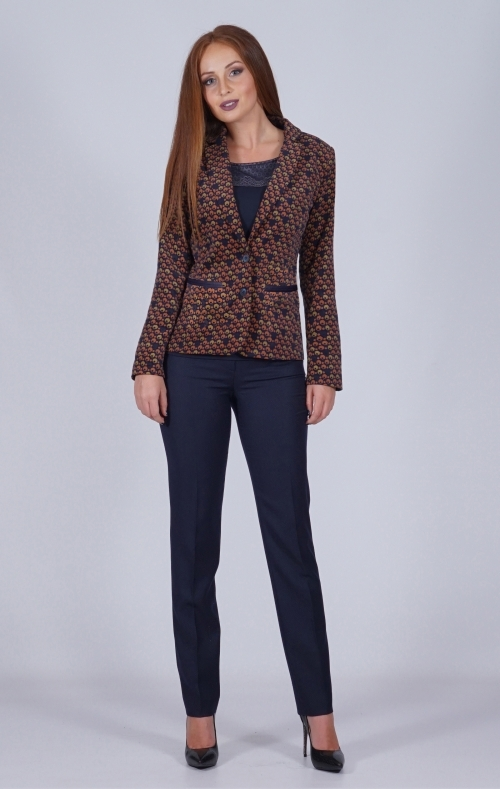 Elegant women's velvet suit and dark blue pants 80639-60472