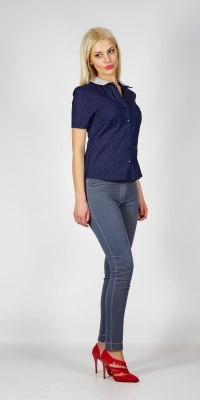 Lady's dark blue cotton shirt with lace white collar and short sleeves 30192