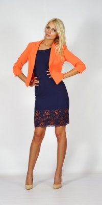 Stylish, formal lady's suit consisting of a jacket in orange and a dark blue dress with lace decoration 80611-20620