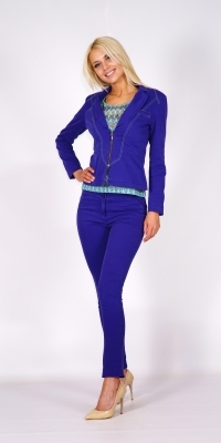 Lady's sport trousers suit in trendy blue colour with decorative green stitching 80613-60454