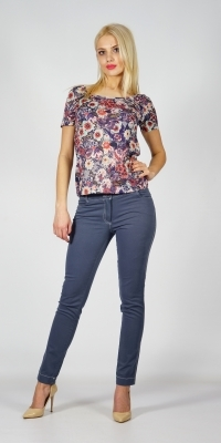 Lady's knitwear blouse made of colourful cotton jersey with short sleeves 10767