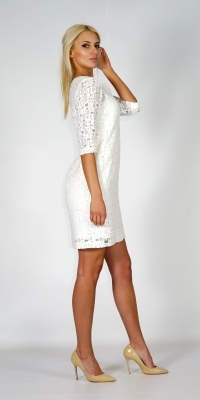 Lady's short white summer dress from embossed cotton lace 20617