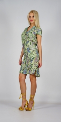 Linen lady's dress in green with flower patter, with short sleeves 20609