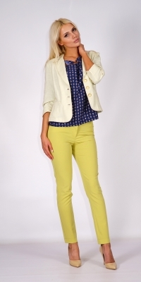 Ladies linen jacket in light yellow with three-quarter sleeves without lining 80584