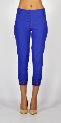 Lady's summer elastic pants in French blue with lace 60461