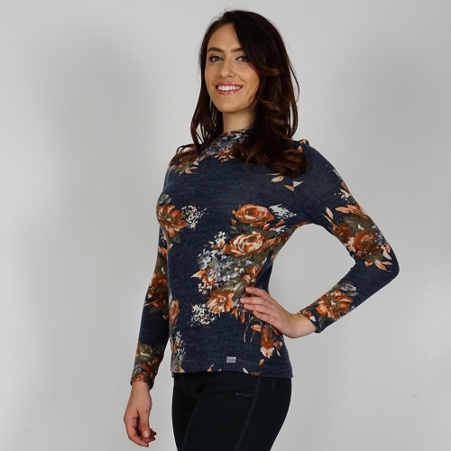 Women's Knit Wool Printed Blouse In Navy Blue Green And Brick Red Color 10829