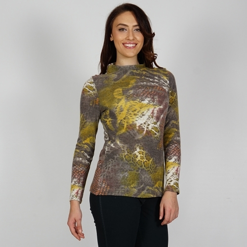 Women's Knit Wool Blouse In Gray, Mustard, Dried Herb Color and White 10831