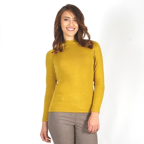 Women's Knit Wool Blouse In Mustard Color With Long Sleeve 10848
