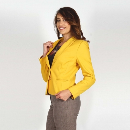 Elegant Women's Yellow Jacket with Wine-Purple Jacquard Lining and Long Sleeve 80679