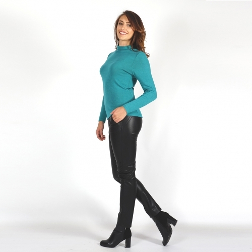 Women's Knit Wool Emerald Blue Blouse With Turtleneck And Long Sleeve 10846