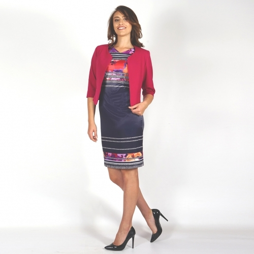 Formal Ladies Satin Dress in Dark Blue, White, Orange, Red 20712