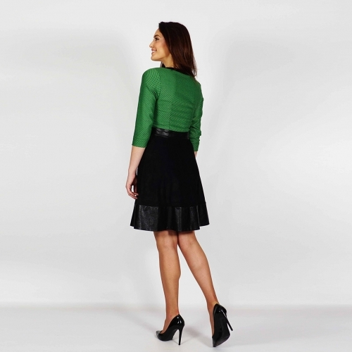 Women's Sheath Fully Lined Dress Made Of Green Jacquard, Black Suede And Leather 20704