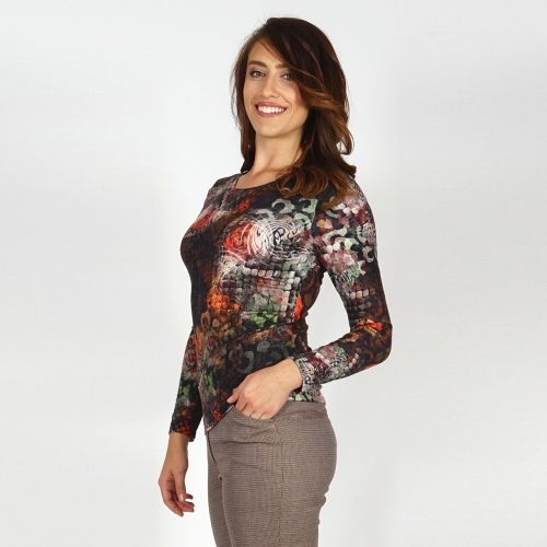 Women's Jersey Blouse In Beige Brownish With Fresh Print In Green, Yellow and Coral 10847