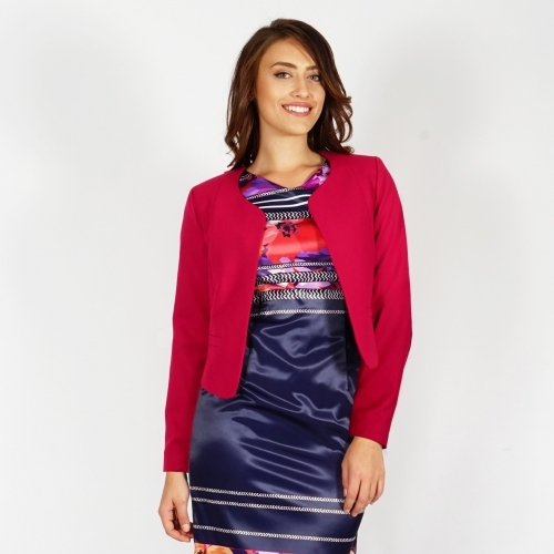 Women's Elegant Bolero - Jacket In Fuchsia Color Without Lining 80640