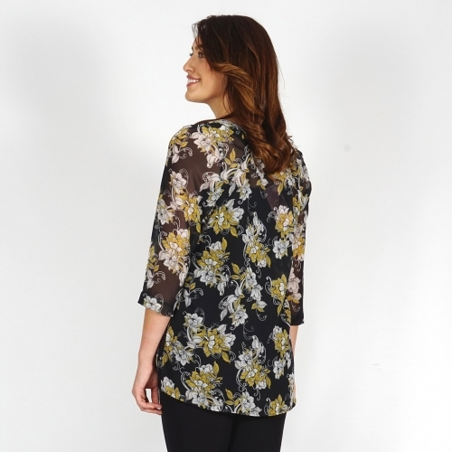 Elegant Women's Black Chiffon Tunic With Printed Yellow and White Flowers With Lining 11112