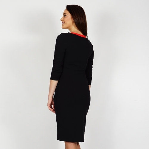 Women's Black Jersey Fully Lined Dress With Black And White Details And Red Belt And Neckline 20688