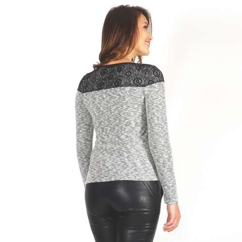 Women's Blouse Composed Of Gray Knit And Panel Of Black Lace With Long Sleeve 10795