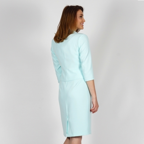 Elegant Women's Mint Color Suit Composed Of Dress And Jacket With Green Lace 80660-20698