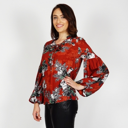 Women's Long Sleeve Blouse In Brick Color With Print Of Roses In White, Gray, Green 10837