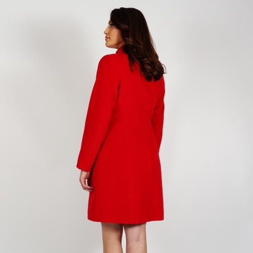 Women's Red  Wool Coat With Cashmere Quilted Lining And Business Length 90205