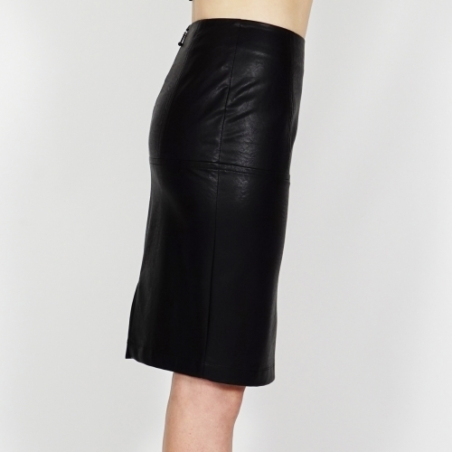 Women's Black Skirt Made Of Eco Leather With Lining And Decorative Stitches 40356