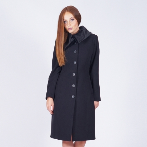 Women's Black Long Cashmere Quilted Coat with Black Eco Leather Collar 90196