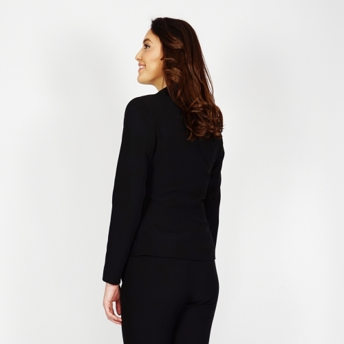 Elegant Women's Black Pant Suit With Leather Detail And Lining 80662-60493
