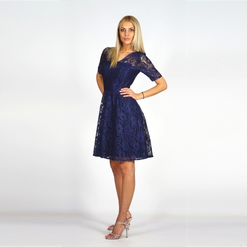 Formal dark blue lady's suit consisting of a jacket and a lace dress 80625-20630