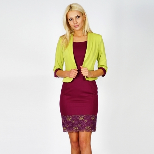 Elegant formal lady's suit consisting of a jacket in spring green and a dress in burgundy with lace 80617-20619