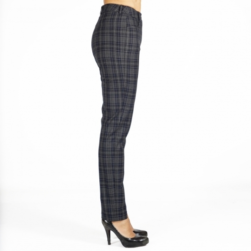 Women's Checked Trousers In Dried Herb Green Color,  Dark Blue and Gray 60508
