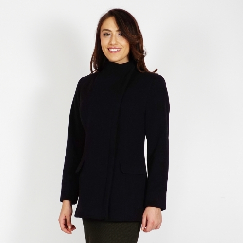 Women's Short Black Wool Coat With Cashmere, Quilted Lining And Metal Zipper 90200
