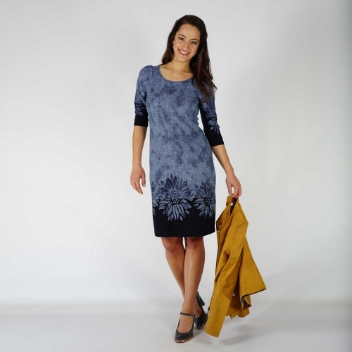 Women's Jersey Dress With Blue Denim Floral Print And Lining 20736