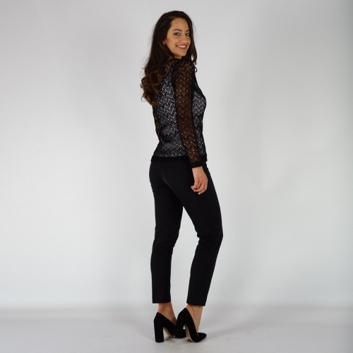 Elegant Ladies Black Lace Blouse With Viscose Lining 10857