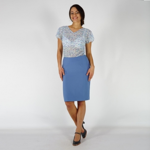 Elegant Ladies Blue Straight  Business Length Skirt With Back Slit and Lining 40365