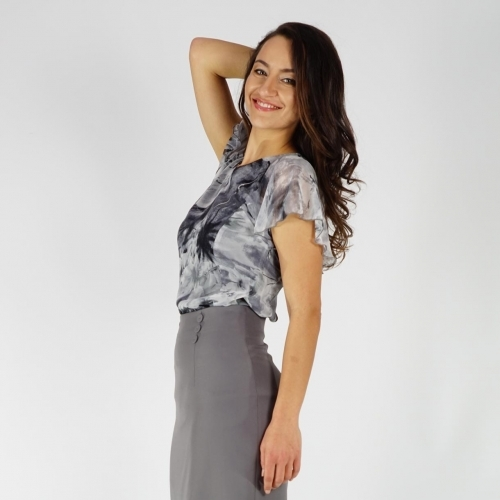 Elegant Ladies Abstract Printed Gray Chiffon Blouse With Ruffle Sleeves 10852