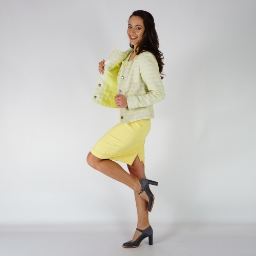 "Elegant Ladies Suit Composed Of ''Chanel"" Jacket And Yellow Dress 80683-20726"