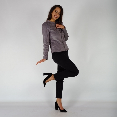 Casual Elegant Gray Jacket Made Of Eco Suede Leather With Metallic Zipper 80699