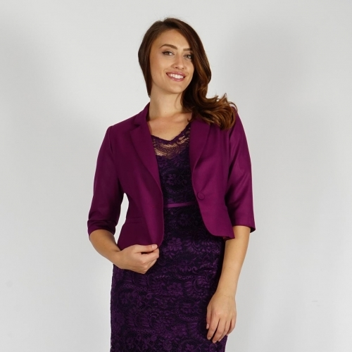 Elegant Ladies Short Jacket In Royal Purple Fully Lined With Three - quarter Sleeves 80687