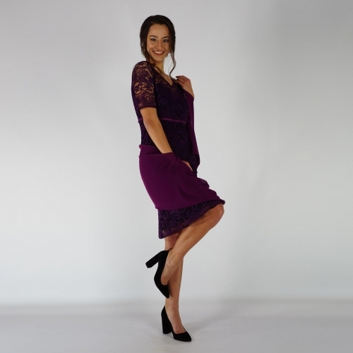 Formal Ladies  Dark Purple Short-sleeved Dress Made Of Italian Lace 20721