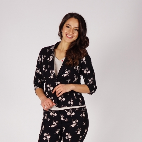 Casual Elegant Ladies Floral Printed Black Linen Jacket With Partial Lining 80690