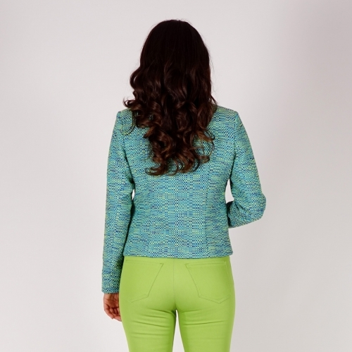 Casual Elegant Ladies Jacket In Green, Blue and Indigo Colors With Long Sleeves 80701