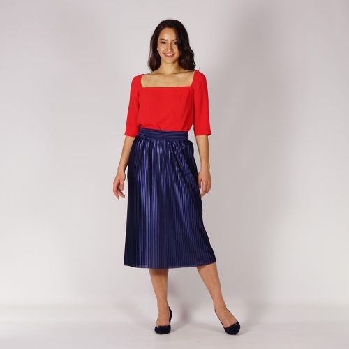 Elegant Ladies  Soleil Pleated Skirt in Dark Blue with Satin Effect and Full Lining 40374