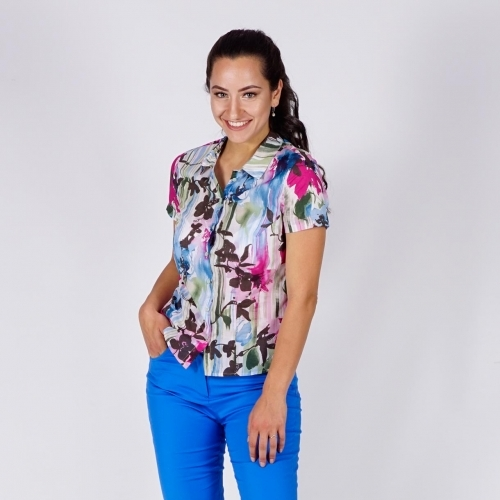 Women's Cotton Printed Shirt in White, Green, Blue and Fuchsia Pink  With Short Sleeves 30339