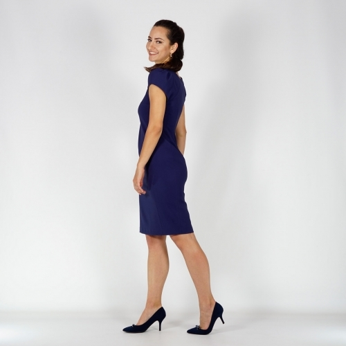 Dark Blue Elegant Business Length Dress With Short Sleeves And Full Lining 20757