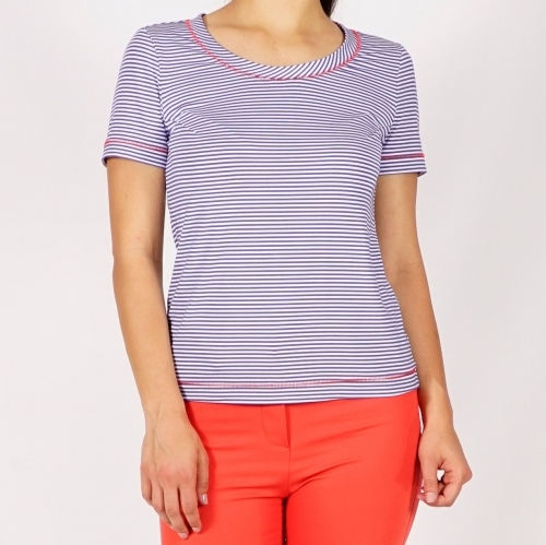 Cotton Jersey Short Sleeve White Blue Striped Shirt With Red Spaced Straight Stitch Embroidery 10876