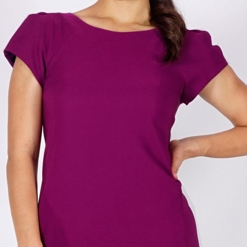 Dark Violet Elegant Business Length Dress With Short Sleeves And Full Lining 20756