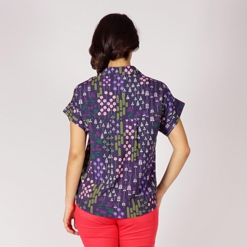 Casual - elegant Ladies Viscose Dark Blue Shirt With Colorful  Print 30237