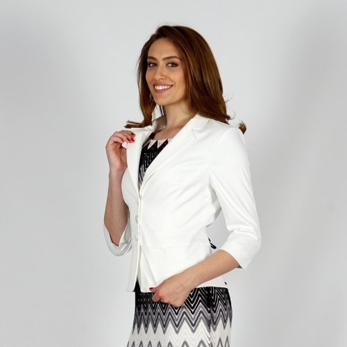 Elegant Women's White Cotton Satin Jacket With Three-Quarter Sleeve 80658