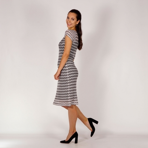 Elegant Ladies Zig - zag Knit Lace Dress In Black and White 20770