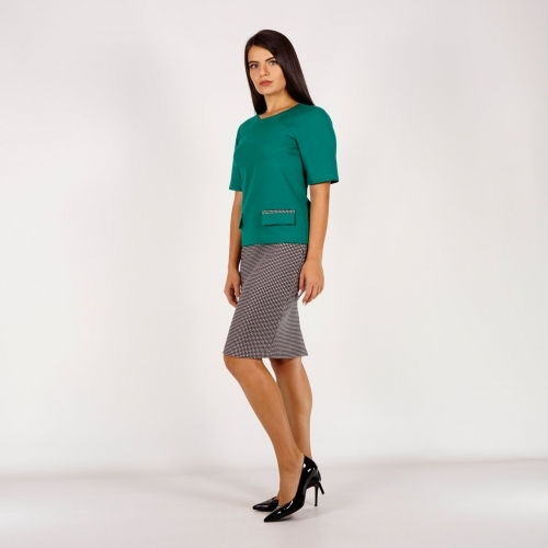 Casual Elegant Suit Composed Of Green Top and Plaid Skirt